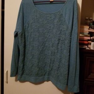 Faded glory lace front sweatshirt xxl 20 teal